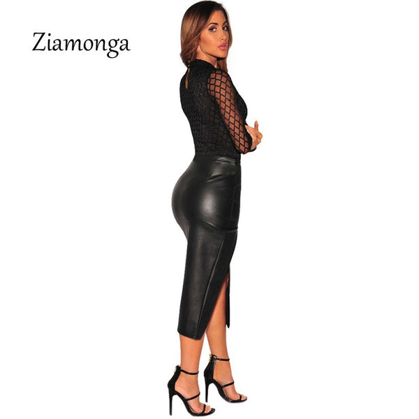 Ziamonga Transparent Mesh Bodysuit Women Tops Autumn Rompers Womens Jumpsuit Fitness Plaid Club Party Bodysuit Macacao Feminino