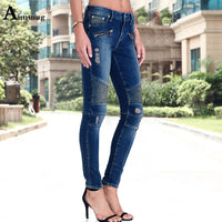 Slim Fit Hole Mid High Waist Stretch Denim Skinny Pants Motor Jeans For Women.