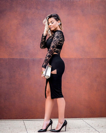 2018 new women dress  wholesale  black lace two piece sets bandage   dress  red party  dress dropshipping