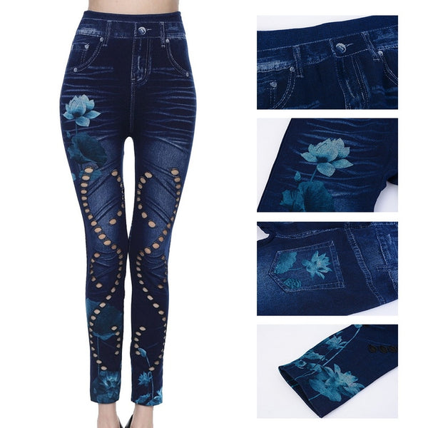 Fashion Slim Women Fitness Leggings High Waist Sexy Hole Floral Print Casual Hollow Out Faux Denim Leggin Pencil Pants Plus Size