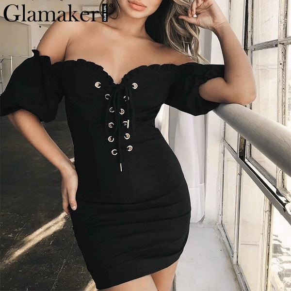 Glamaker Black off shoulder lace up puff sleeve dress Women summer bodycon party dress Sexy fitness mini short dress vestidos