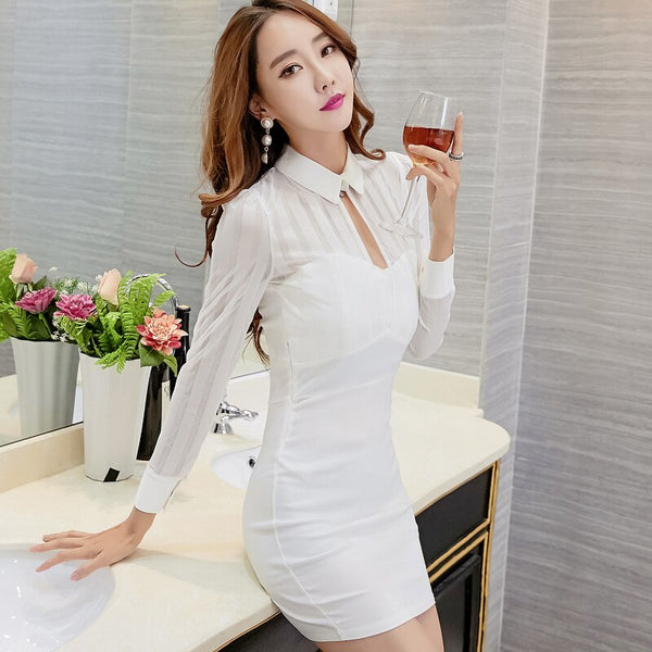 Slim Fitted Pencil Dresses 2018 Women Korea Japan Style Party Club Patchwork Black White Red Mesh Sexy Bandage Strapless Dress