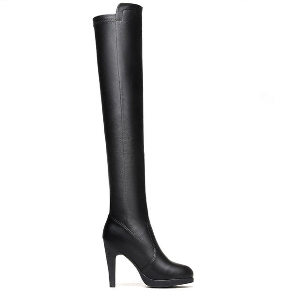 Comfortable Black Thigh High Long Winter Autumn Boots Shoes