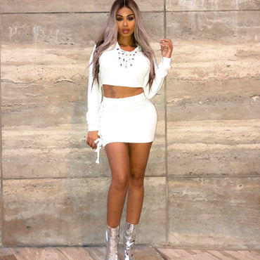 Tobinoone 2 Two Piece Set Women 2018 Summer Sexy Crop Top and Skirt Set Casual Deep V Neck Outfit Tracksuit Party Club Wear