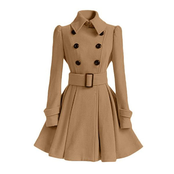 Overcoat Double Breasted Belt Slim Jacket Female Fashion Black Casual Outerwear Vintage Coat