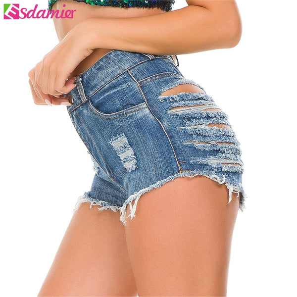 Ripped Jeans Shorts High-Waist Sexy Night Club European Shorts 3 Colors