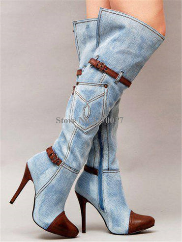 High Quality Women Fashion Pointed Toe Blue Denim Over Knee Boots Patchwork Long High Heel Jean Boots Motorcycle Boots
