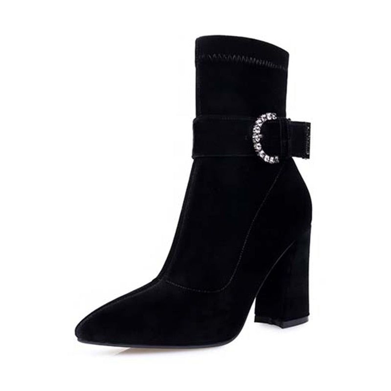 Velvet Buckle Strap Boots Heel Shoes Zipper Pointed Toe