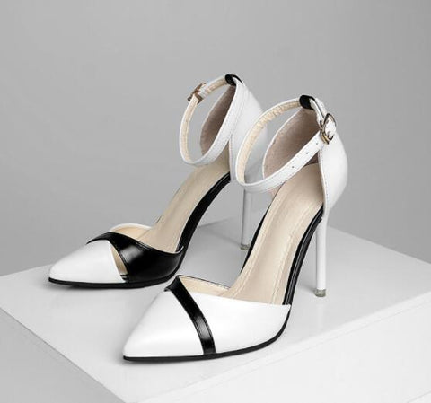 High Heels Stiletto Ankle Strap 6/10CM Sexy Pumps Black Thin Heel Buckle White Hollow Bridal 34-40
