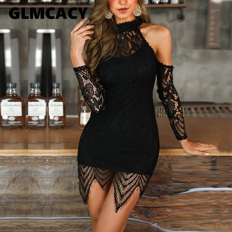 Eyelash Lace Cutout Shoulder Dress Streetwear Sheath Solid Tassel Above Knee Mini Dress.