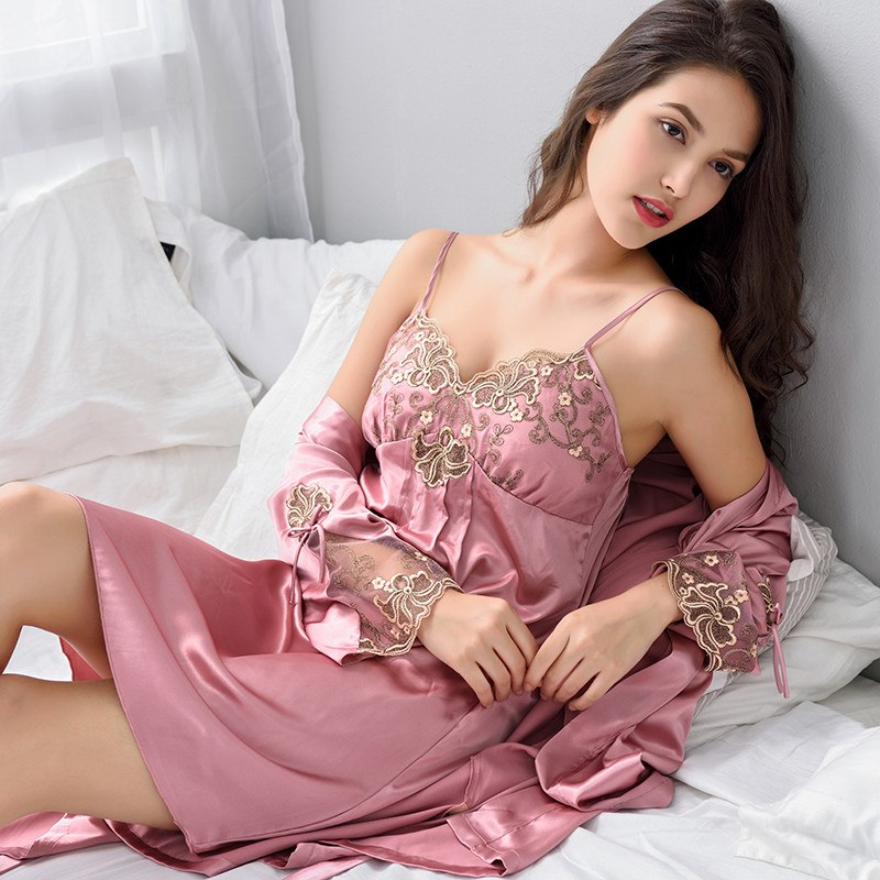 d1c94522f Robe Sets Sexy Satin Silk Sleepwear Women Night Gown Set With Chest Pad  Bathrobe Red Lace