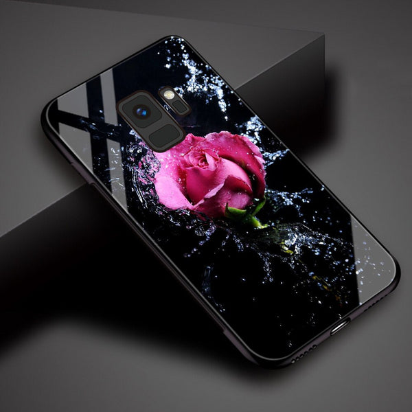 Samsung Galaxy Rose Patterned Tempered Glass Phone Case Cover.