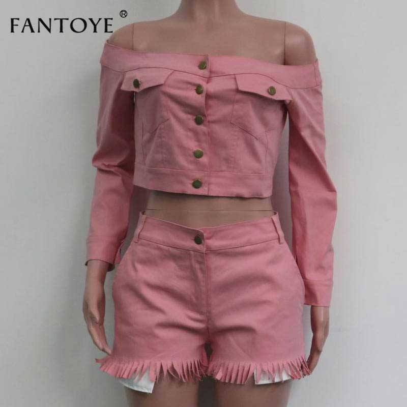 Two Piece Set Tasse Jean Crop Top Shorts Sexy Off Shoulder Pockets Button Tracksuit Long Sleeve.
