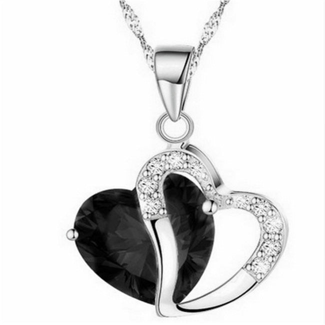Heart Crystal pendentif amethyste Maxi Statement Pendant Necklace NEW Jewelry