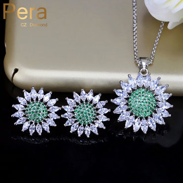 Sun Flower Green And White Zirconia Earring And Necklace For Party J212
