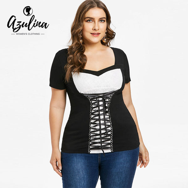 AZULINA Plus Size Sweetheart Neck Lace Up T-Shirt Women 2018 Summer T Shirt Casual Shirt Tees Summer Big Size 5XL Women Clothing
