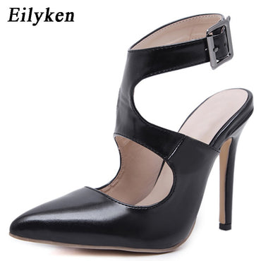 Eilyken 2019 New Design Autumn High Heels Pumps Sandals 12.5CM Fashion Pointed Toe Buckle Strap Gladiator Thin Heel Woman Shoes