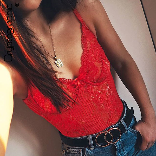 Cryptographic hot sale sheer lace bodysuit women backless transparent mesh bow sexy jumpsuit 2018 catsuit straps bodysuits thong