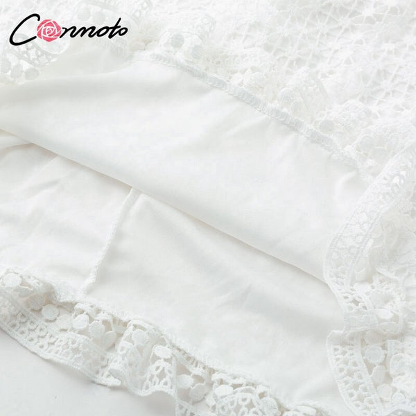 Conmoto Hollow Out Double Layer Dress Long Sleeves White Lace Dress Women  Spring 2019 Casual Sexy Embroidery Dress Vestidos