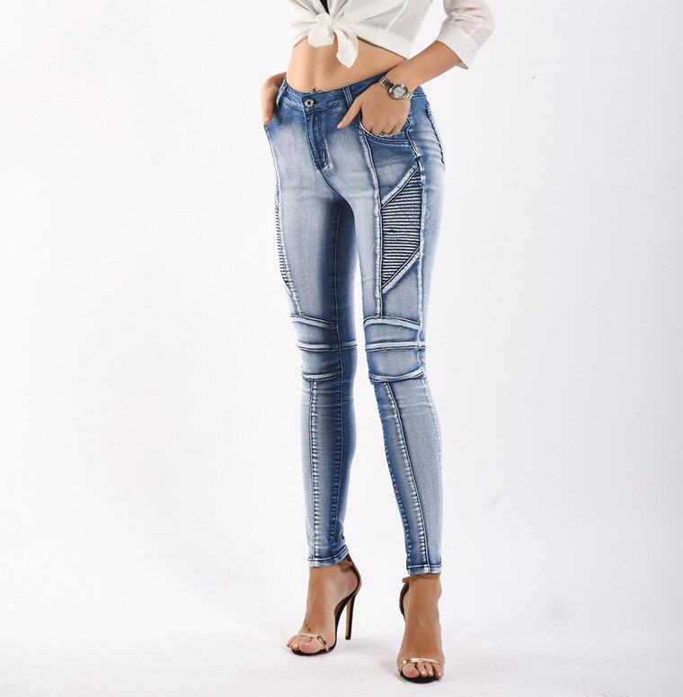 Light Blue Slim Fit Mid High Waist Pencil Stretch Denim Skinny Pants.