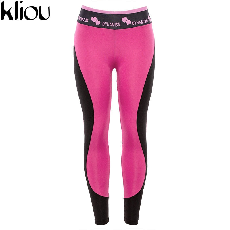 Fitness High Waist Heart Patchwork Women Push Up Leggings Sportswear Workout Print Leggings