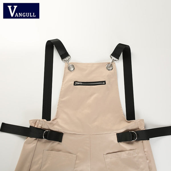 New blk/Khaki  Womens Long Elegant Zipper Pockets Sleeveless Adjusted Strap High Waist Cotton
