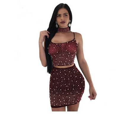 Tank Tops Drilling Beading Bodycon Clubwear Party Skirts 2pcs Sexy Fashion Women Clothes Set Sleeveless