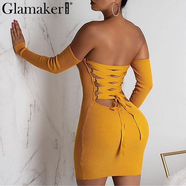 Glamake Sexy knitted off shoulder bodycon dress Women backless lace up mini dress elegant Female summer party club dress vestido