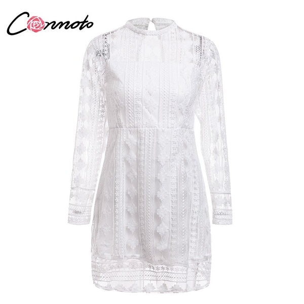 Elegant Vintage Transparent Mini White Lace Dress.
