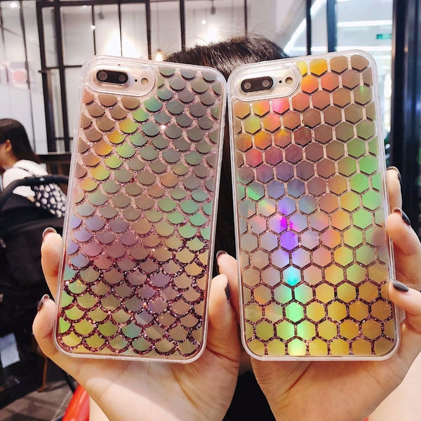 Fashion Bling Liquid Quicksand Case For iPhone 6 6s 7 8 Plus X Luxury Cartoon Girls Bottle Glitter Dynamic Phone Back Cover Capa