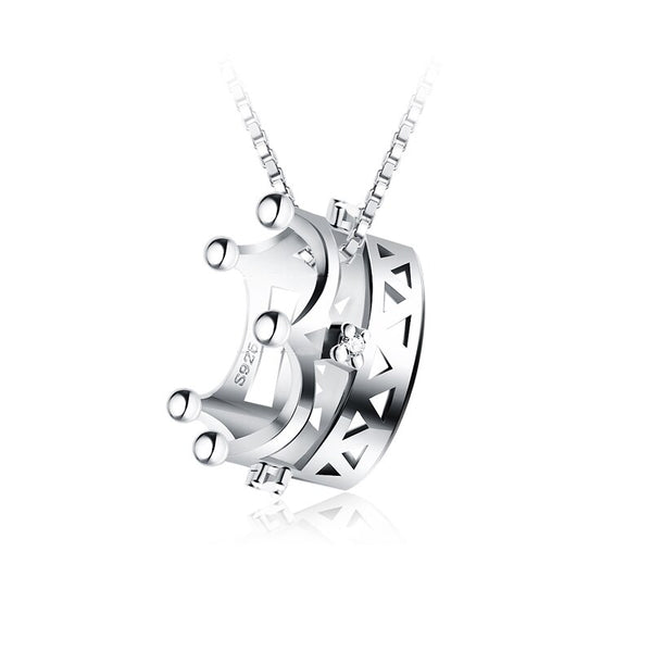 Sterling Silver Jewelry Wholesale Pendant 3D Crown Design 18K Gold Plated 18inches Clavicle 925 Necklace Pendant Women with Box