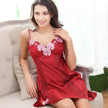 Silk Nightgowns Women Sleeveless Summer Faux Silk Sleepwear Female V-Neck Sweet Princess Sleeping Dresses Casual Pyjama 2222