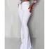 2019 Fashion Buttoned Bell-Bottom High Waist Pants Women Solid slim fit white flare pants Summer Elegant workwear patalon femme