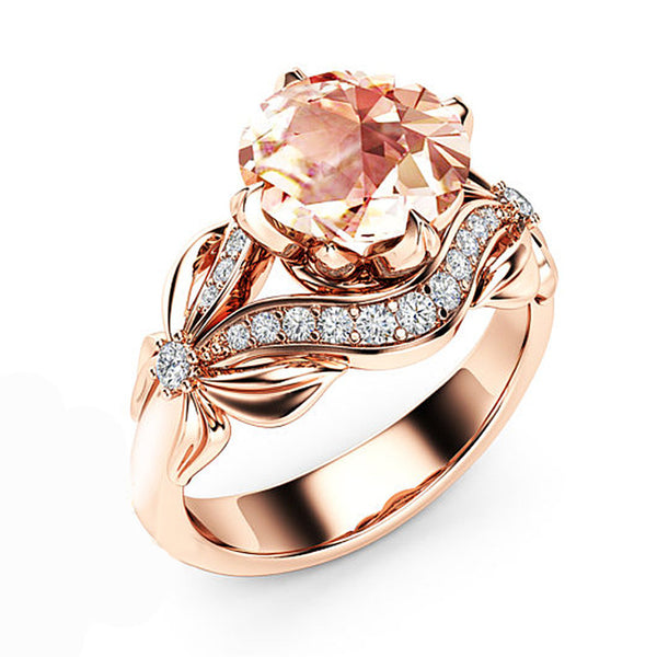 Mossovy Flowers Zircon Rose Gold Engagement Wedding Rings for Women Fashion Party Rings for Female Jewelry Anillos Mujer Bague