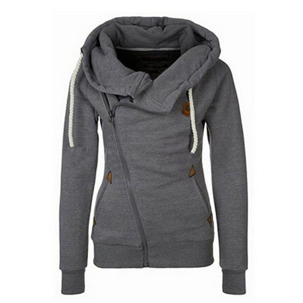 Pockets Zipper Hooded Sweatshirts Solid Colors Casual Outwear Tops