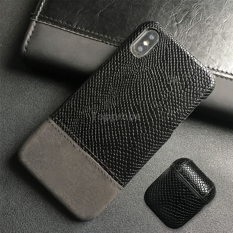 Snake Skin Leather Phone Case For iphone 11 Pro X XR XS Max 5 6 6s 7 8 Plus Leather Case For Airpods.