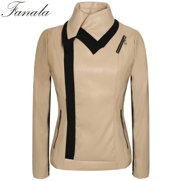Lady Angvns Synthetic Sleeve Long Leather Party Regular Solid Jacket Zipper Outerwear Casual Women Casual Fashion Coat