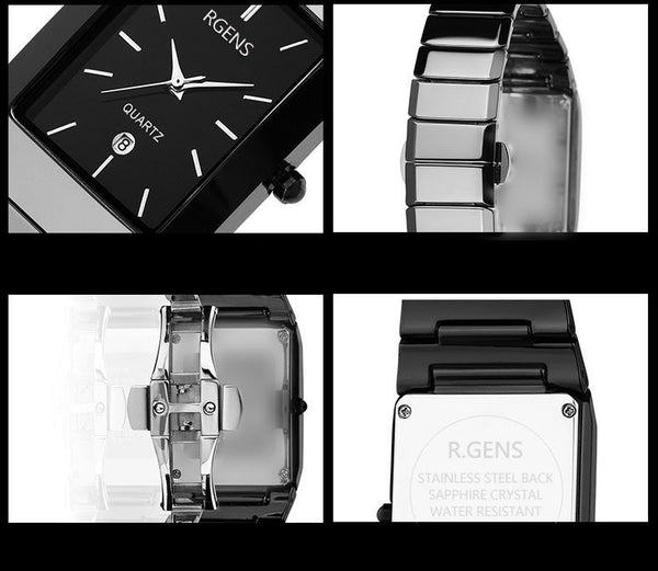 women mens couple clocks black men's women's quartz wristwatches.