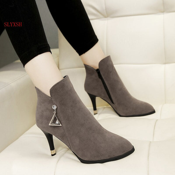 SLYXSH Shoes female 2019 new pointed stiletto boots plus suede bare boots winter female wild high-heeled  boots