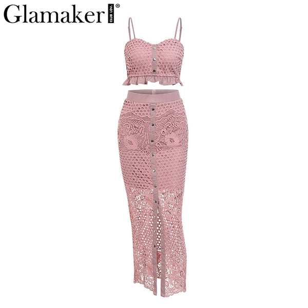 Glamaker Hollow out sexy yellow long dress Women lace ruffle 2 piece maxi holiday dress Bodycon summer holiday party beach dress