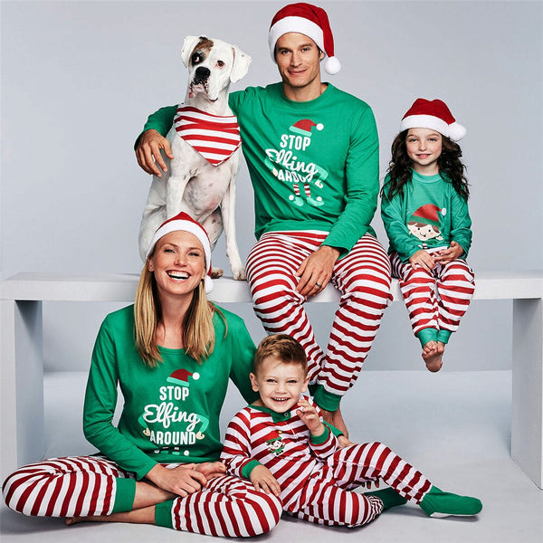 Father Mother Daughter Son Matching Family Outfits Christmas Pajamas Green Striped Snowman Pajamas New Year Kids Sleepwear Fall