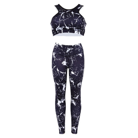 Printed Yoga Set 2018 New Suit Women Tracksuit Set Ink Painting Printed Fitness Set Sportswear Leggings Tight Jumpsuits Dropship
