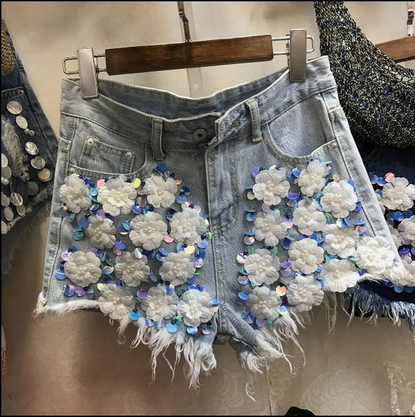 Jeans Shorts Casual Student Female High Waisted Sequins Beads Denim Shorts