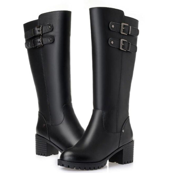 Thick Heel Non-slip Real Leather Shoes Woman High Boots Plus Size.