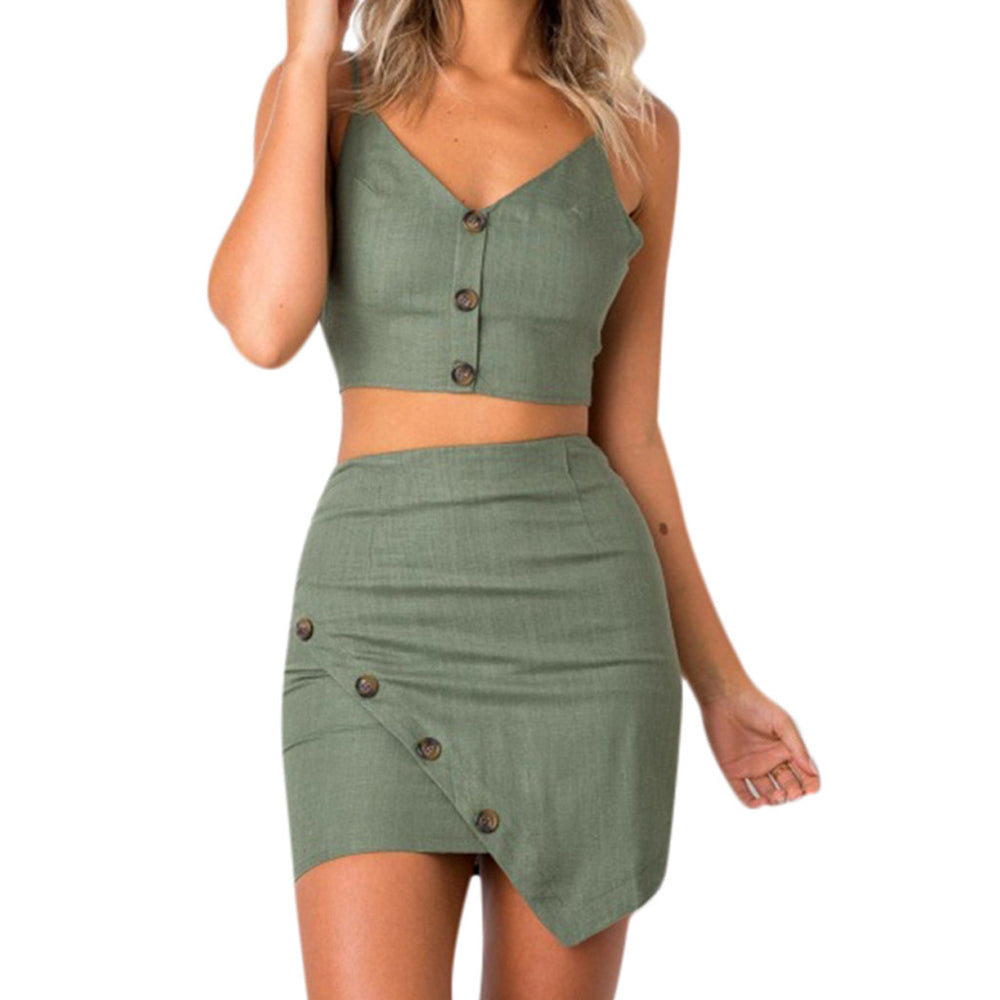 Suspender Sleeveless Hip two piece set top and pants.