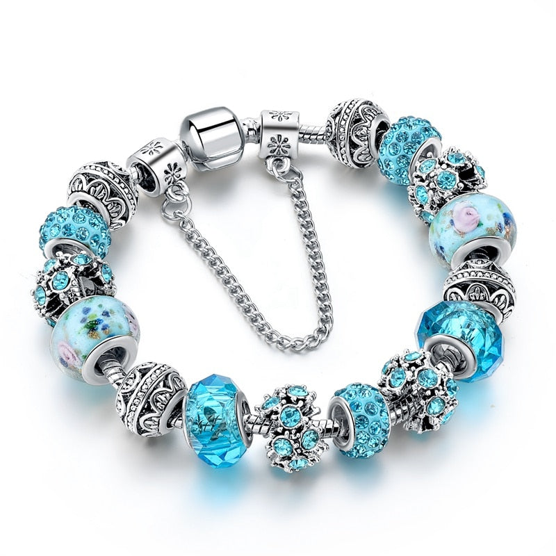 Blue Crystal Beads Charm Bracelets&Bangles Silver Bracelets For Women.