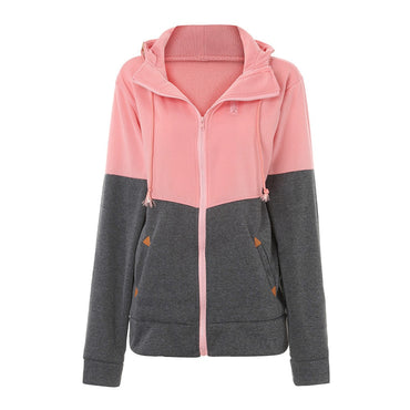 Plus Size 5XL Baseball Jacket Women Long Sleeve Casual Coats Hooded Collar Cotton Women Slim Zipper Pocket Patchwork Jackets#23