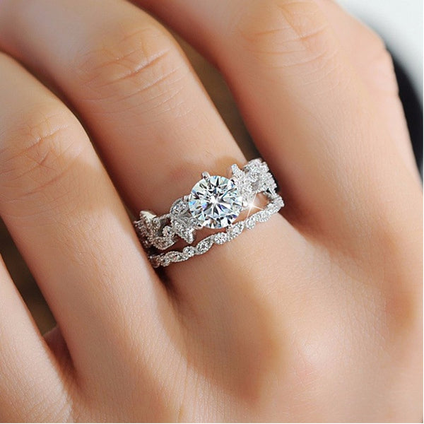 Silver Ring Vintage Wedding Band Promise Engagement Rings For Women
