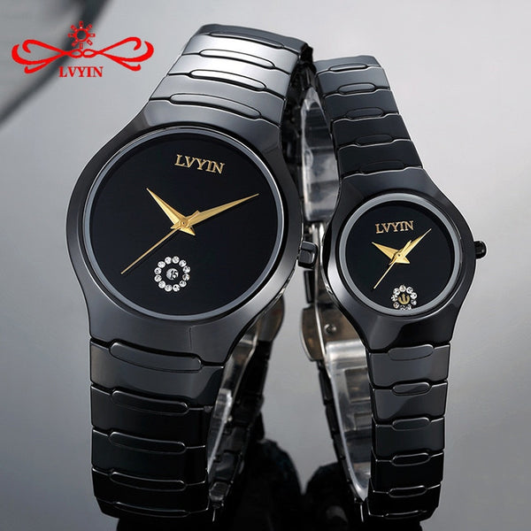Couple Watches Full Ceramic Waterproof Fashion Calendar Dress Wristwatches