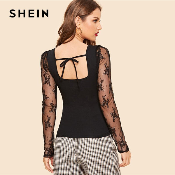SHEIN Retro Black Knot Back Embroidery Mesh Sleeve Fitted Top T Shirt Women Summer Square Neck Solid Office Lady Elegant Tshirts